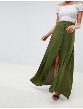 asos-design-button-front-maxi-skirt by asos-design