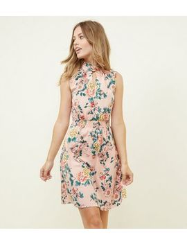 orange-floral-high-neck-shirred-waist-dress by new-look