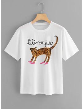 animal-print-short-sleeve-t-shirt by shein