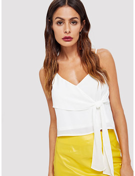 Ruffle Embellished Knot Cami Top by Shein