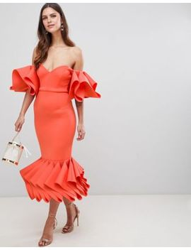 asos-premium-concertina-hem-bodycon-dress by asos-design