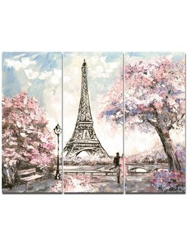 designart-eiffel-with-pink-flowers-painting-print-multi-piece-image-on-canvas-&-reviews by design-art