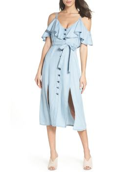 caite-chambray-cold-shoulder-dress by bb-dakota