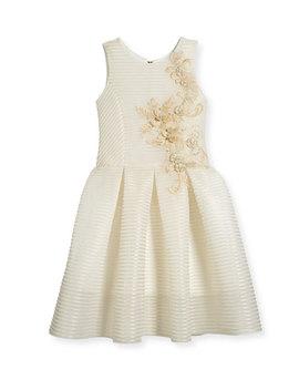 parker-perforated-neoprene-stripe-dress,-gold,-size-4-6x by zoe