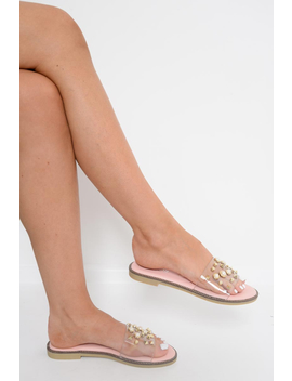 pink-clear-clear-studded-sliders---athira by rebellious-fashion