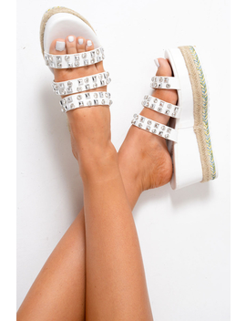white-pu-embellished-flatform-slip-on-sandals---madina by rebellious-fashion
