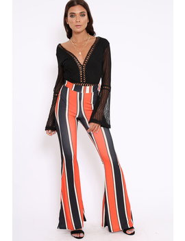 orange-and-navy-stripe-ribbed-flares---kassy by rebellious-fashion