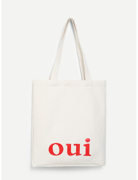 Letter Print Canvas Tote Bag by Sheinside