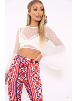 white-striped-sheer-crop-top-with-flare-sleeves---kaisey by rebellious-fashion