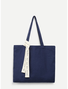 Canvas Tote Bag With Letter Strap by Sheinside