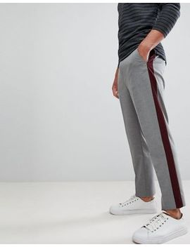asos-design-tapered-crop-smart-pants-with-burgundy-side-stripe by asos-design