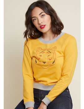 Higher And Tiger Embroidered Pullover In S by Modcloth