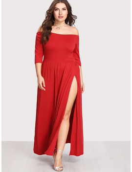 plus-off-shoulder-pleated-split-dress by romwe