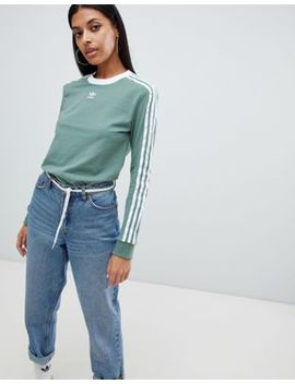 adidas-originals-three-stripe-long-sleeve-t-shirt-in-green by adidast