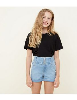 girls-pale-blue-high-rise-button-front-denim-shorts by new-look