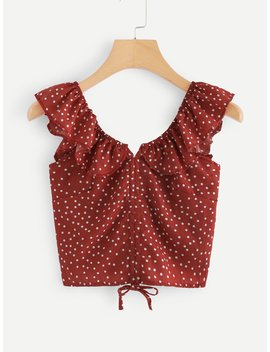 ruffle-trim-drawstring-polka-dot-top by romwe