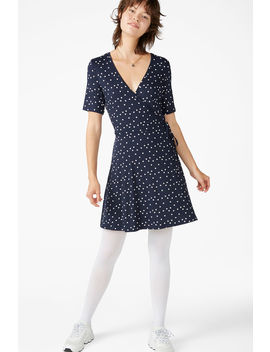dotted-wrap-dress by monki
