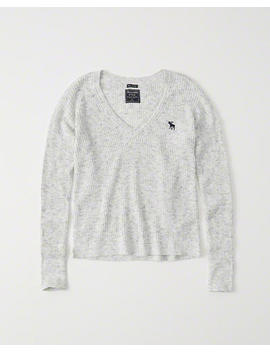 Icon V Neck Ribbed Sweater by Abercrombie & Fitch