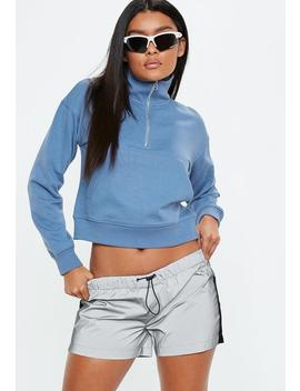 blue-zip-front-high-neck-cropped-sweatshirt by missguided
