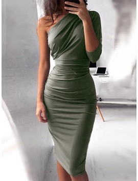 one-shoulder-scrunch-self-belted-bodycon-dress by ivrose