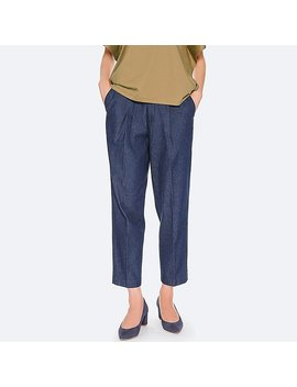 women-cotton-tapered-ankle-length-trousers-(indigo) by uniqlo