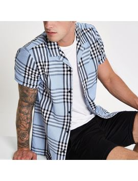 light-blue-check-short-sleeve-shirt by river-island