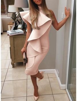 one-shoulder-mock-ruffles-bodycon-dress by ivrose