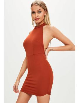 robe-moulante-orange-à-dos-nu by missguided