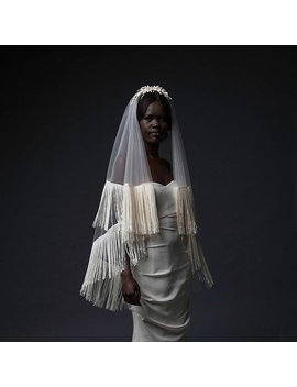 hoxton-veil---double-layered,-circle-cut-fingertip-length-veil-finished-with-a-looped,-fringe-trim by etsy