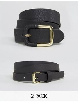 asos-design-2-pack-skinny-waist-belt-and-jeans-belt-in-water-based-pu by asos-collection