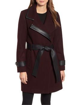 faux-leather-trim-wool-blend-coat by badgley-mischka