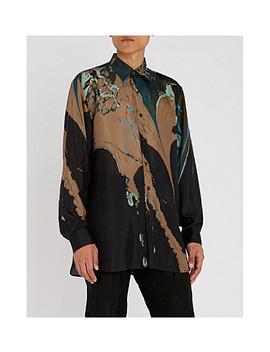marble-patterned-regular-fit-silk-shirt by dries-van-noten