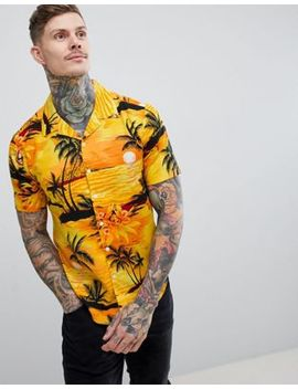 boohooman-revere-shirt-with-beach-print-in-yellow by boohooman