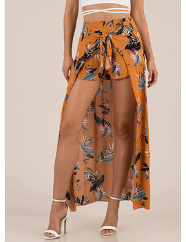 tropical-sarong-tie-front-maxi-shorts by gojane