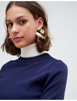 asos-design-stud-earrings-in-folded-knot-design-in-gold by asos-design