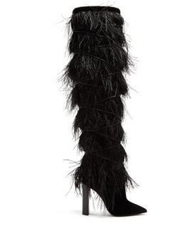 yeti-feather-embellished-over-the-knee-boots by saint-laurent