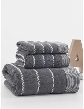 zigzag-cotton-bath-towel-set-3pcs by sheinside