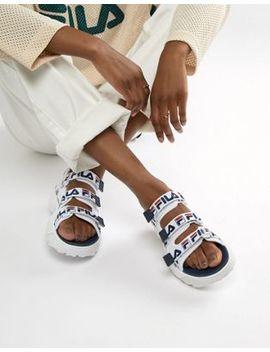 fila-white-logo-strap-disruptor-sandal by fila
