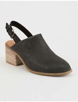 toms-leila-slingback-black-leather-womens-booties by toms