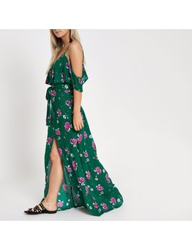 petite-green-floral-button-front-maxi-dress by river-island