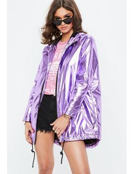 purple-metallic-rain-mac-jacket by missguided