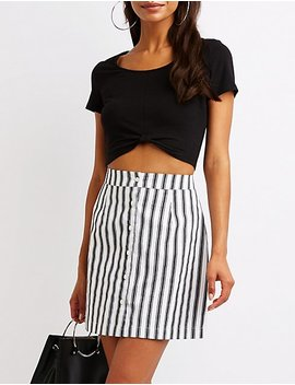 striped-button-up-skirt by charlotte-russe