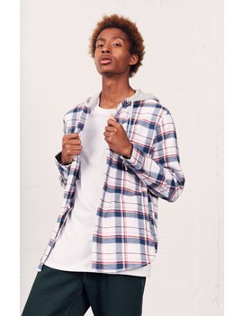plaid-flannel-hooded-shirt by pacsun