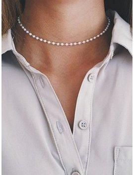 faux-pearl-chain-choker by romwe