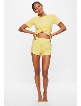 yellow-tie-detail-shorts-pyjama-set by missguided
