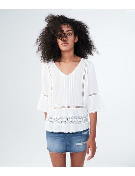 3/4 Sleeve Solid Crocheted Peasant Top by Aeropostale