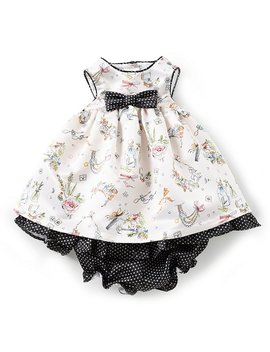 London Baby Girls Newborn 24 Months Sketch Printed Fit And Flare Dress by Generic