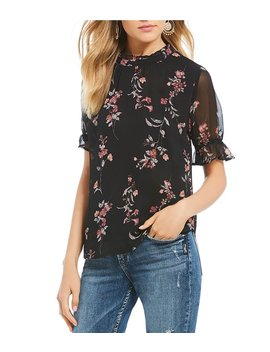 Floral Mock Neck Blouse by Generic