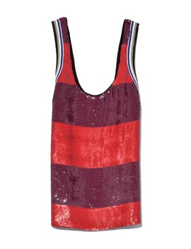 poppy-red_chocolate-striped-sequin-tank by shopbazaar