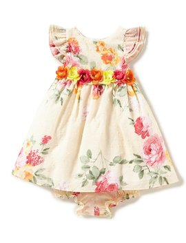 London Baby Girls Newborn 24 Months Floral Flutter Sleeve Dress by Generic